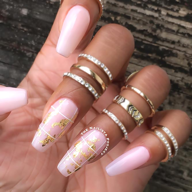 Gold Foil Designs For Pink Nails