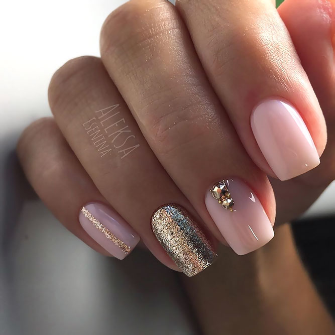 Sweet Pink Nails With Gold Glitter And Rhinestones