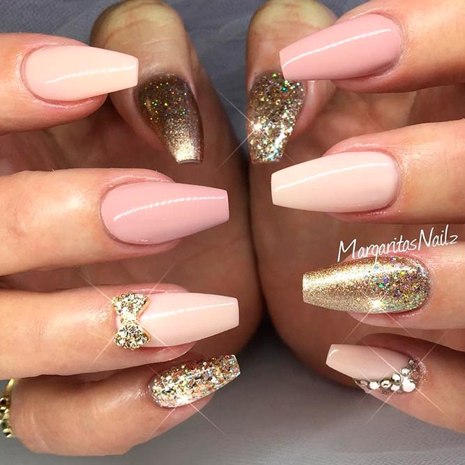 Cute and Sweet Nude Pink Nail Polish picture 1 - 21 Chic Pink And Gold Nails Designs NailDesignsJournal.com