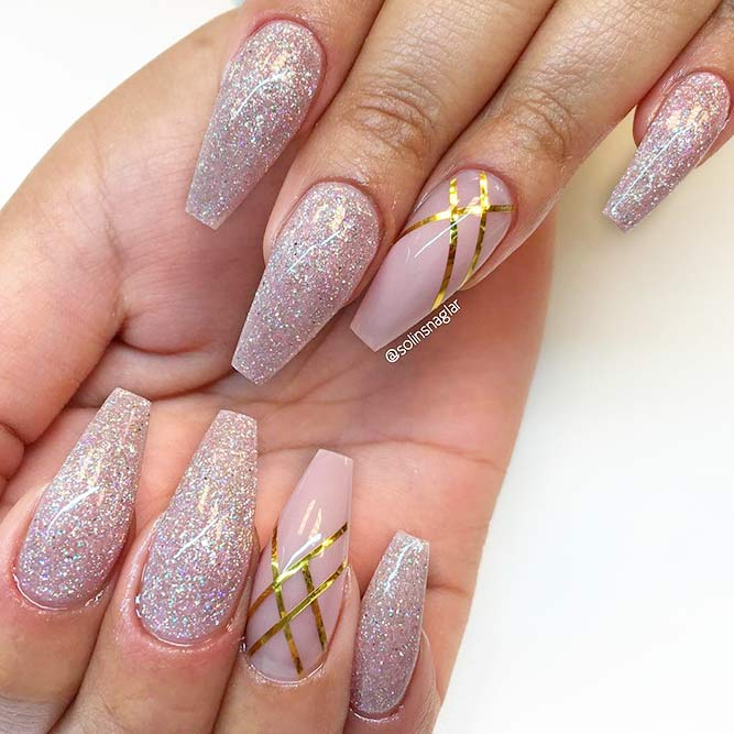 Elegant Pink Nails With Gold Stripes