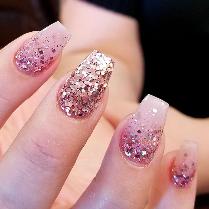 Sparkly Rose Gold Glitter Nails For Trendy S Picture 1