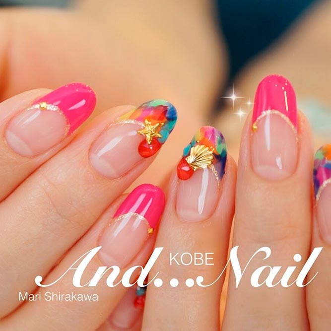 21 chic pink and gold nails designs naildesignsjournal brave and stylish hot pink nails picture 2 prinsesfo Images