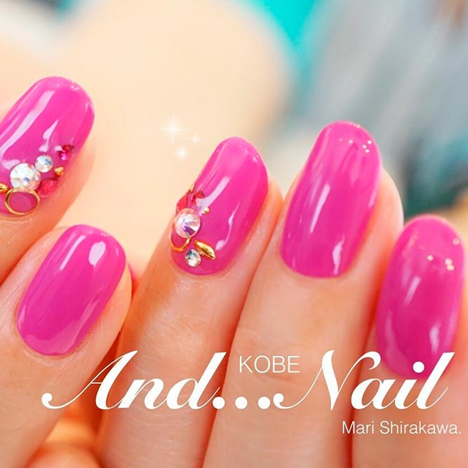 21 chic pink and gold nails designs naildesignsjournal brave and stylish hot pink nails picture 3 prinsesfo Images
