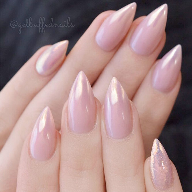 Cute and Stylish Nude Stiletto Nails picture 2