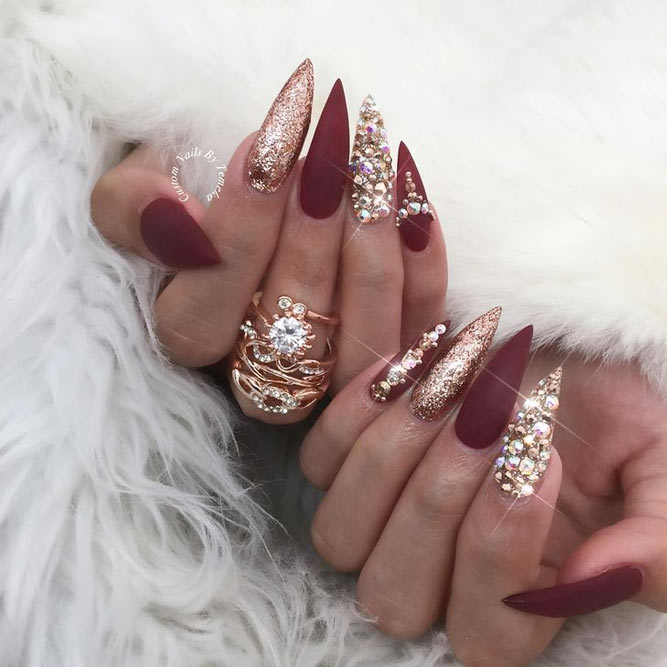 Burgundy Stiletto Nails Look Magnificent picture 1