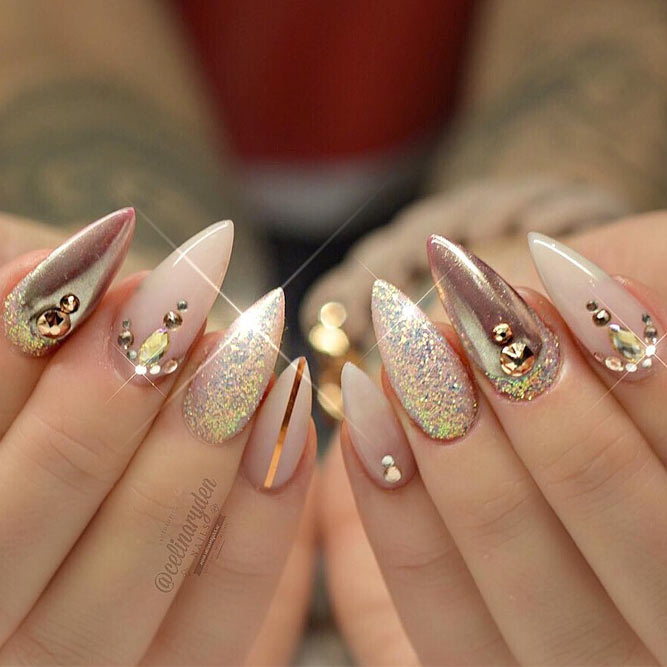 Innocent Nude Designs for Stiletto Nails picture 2 - 21 Popular Stiletto Nails Ideas To Catch NailDesignsJournal.com