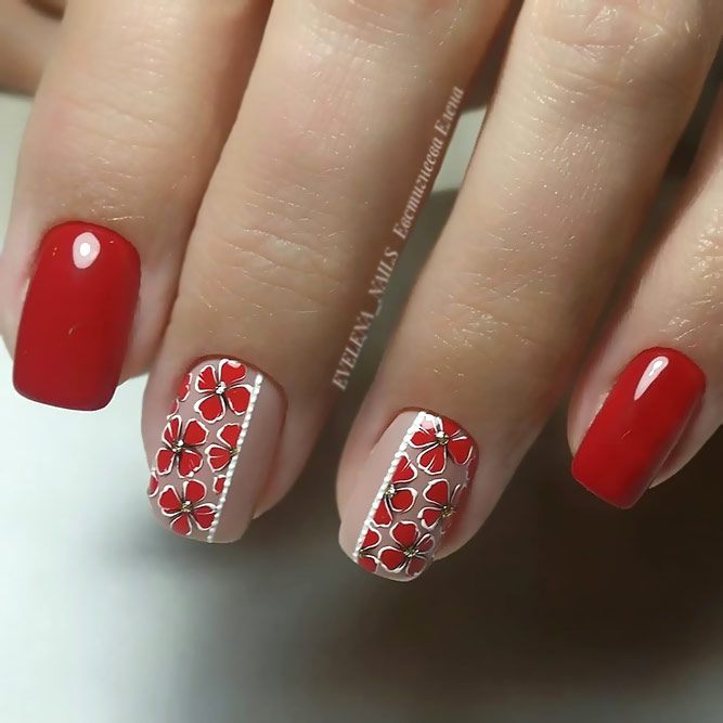 Floral Nail Art For Red Nails