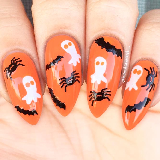 Cutest Black And Orange Halloween Nails picture 2