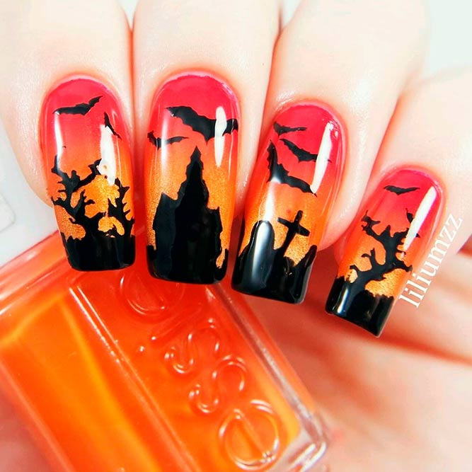 Cutest Black And Orange Halloween Nails picture 1
