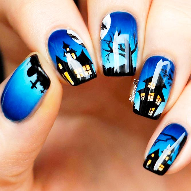 33 perfectly fun halloween nail designs naildesignsjournal cute and scary halloween nail art picture 1 prinsesfo Images