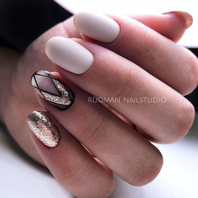 Geometric Nude Nails With Gold Glitter Accent
