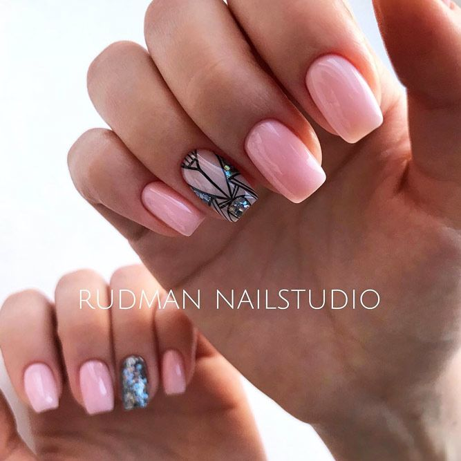 Geometric Nude Nails With Blue Glitter Accent