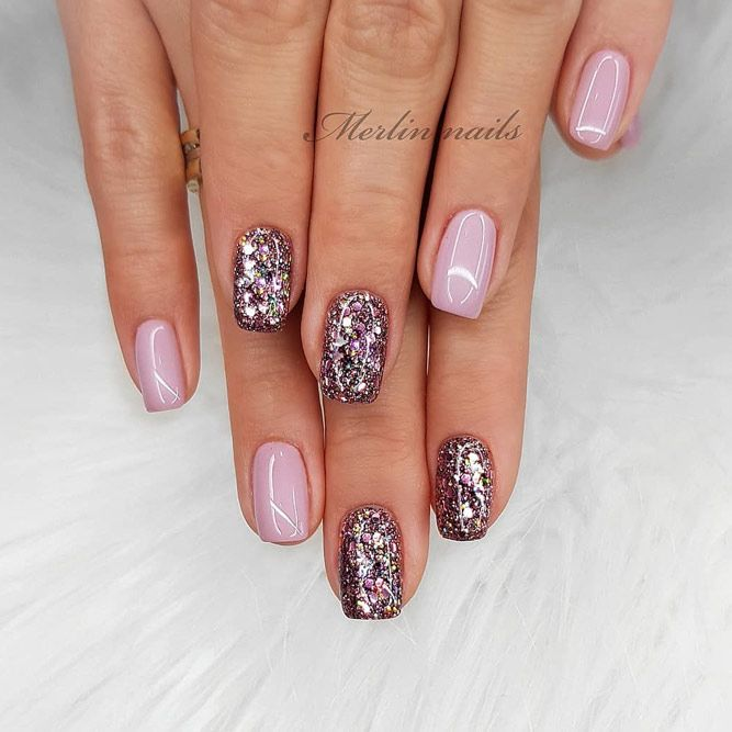 Nude Nails With Dark Color Of Glitter