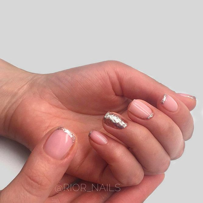 Stylish Short Nude Nails With French Glitter