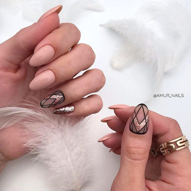 Geometric Nude Nails With Glitter Accent