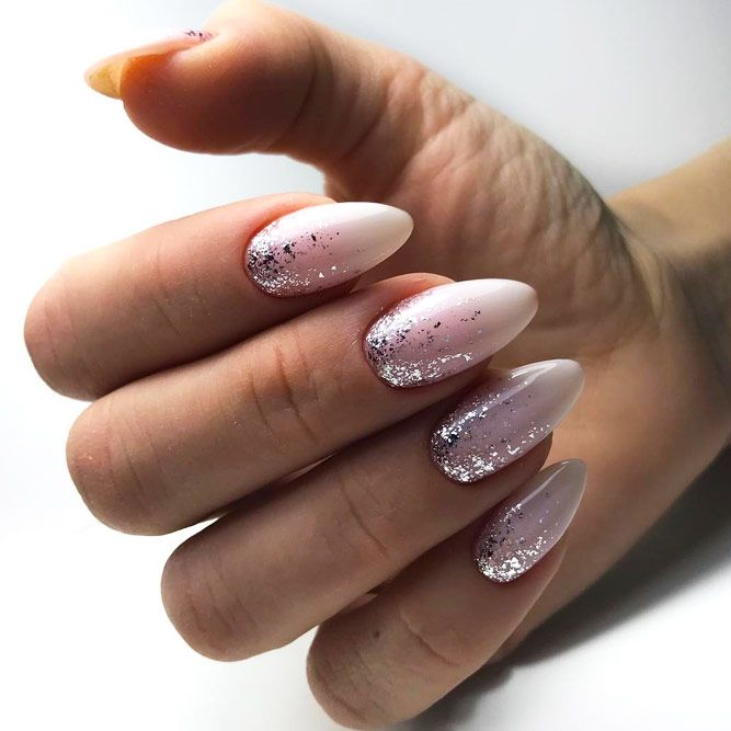 Silver Glitter Gradient With Nude Color