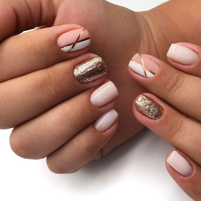 Stylish Nude Nails With Glitter