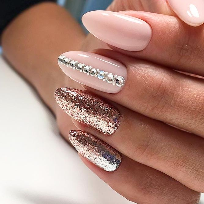 Best Ideas for Nude Nails with Rhinestones picture 1