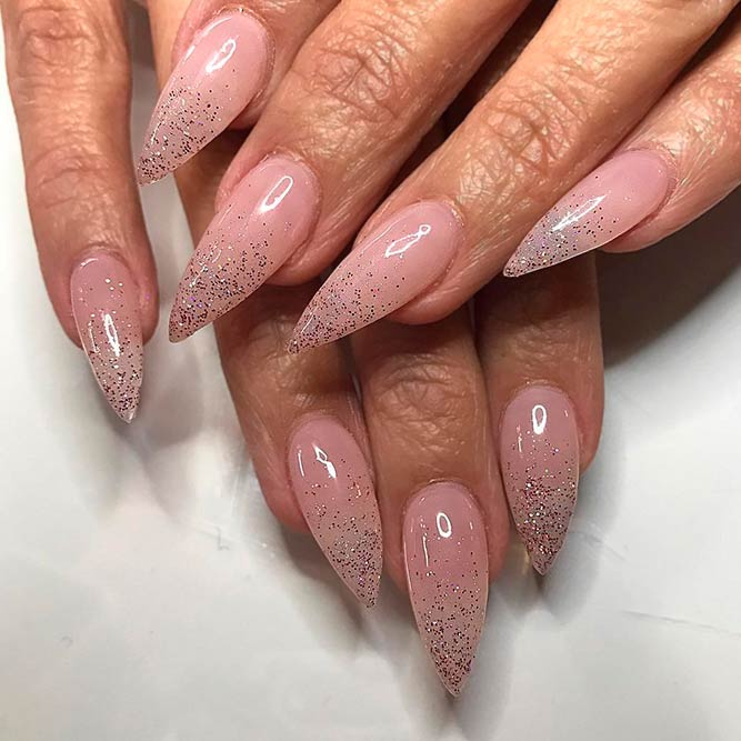 Nude Nails with Glitter for Every Day picture 1