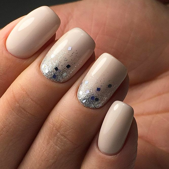 Glitter Gradient With Nude Nails