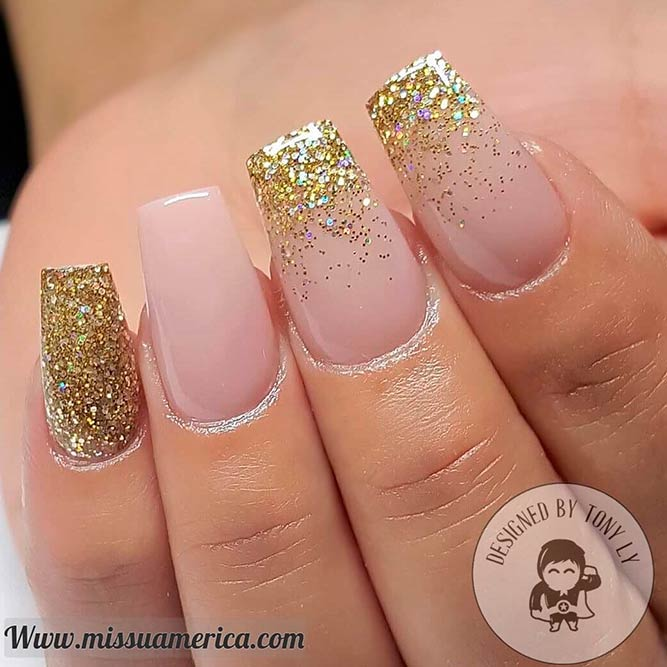 Gorgeous Nude and Gold Nails picture 2