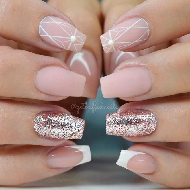 Nude Nails with Glitter for Every Day picture 2