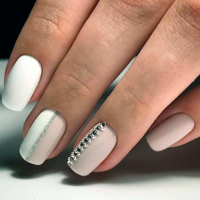 Best Ideas for Nude Nails with Rhinestones picture 3