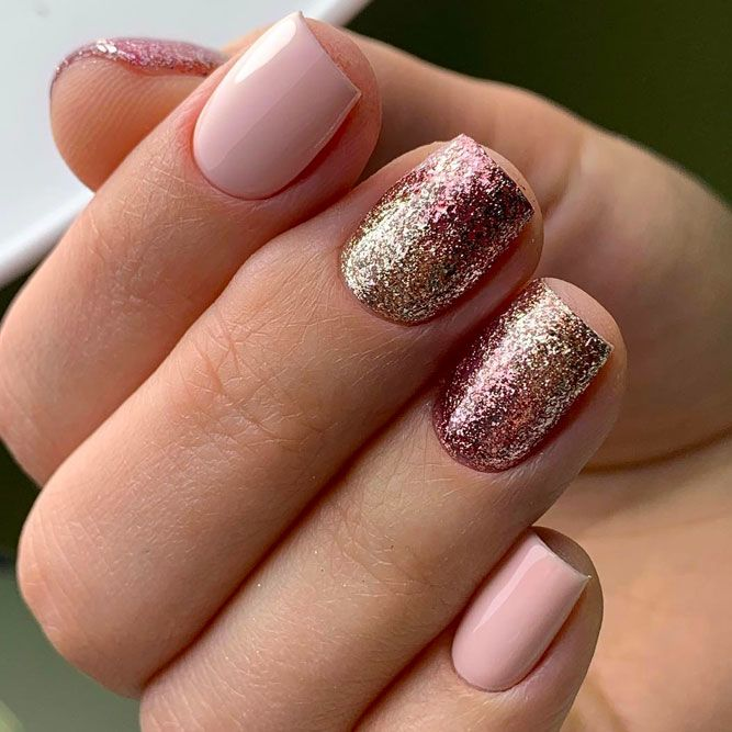 Short Nude Nails With Glitter