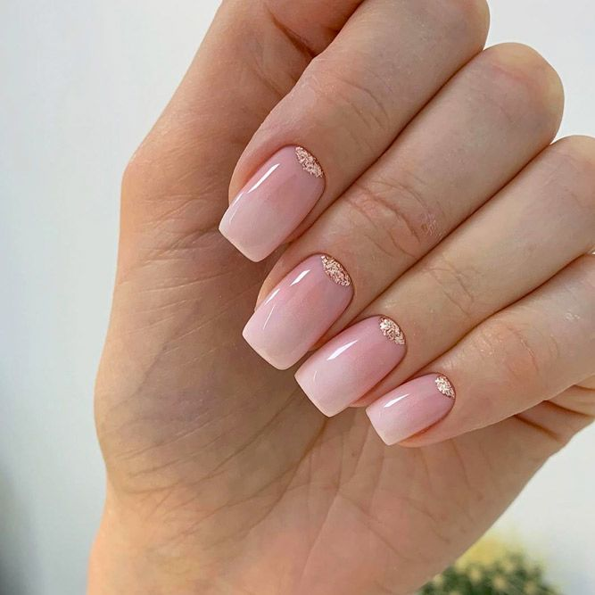 Gorgeous Nude and Gold Glitter Nails