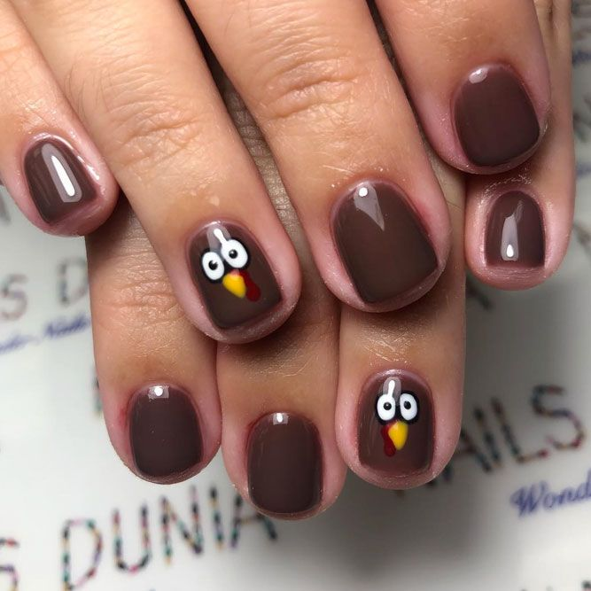 Hand Painted Turkeys for Thanksgiving Nails