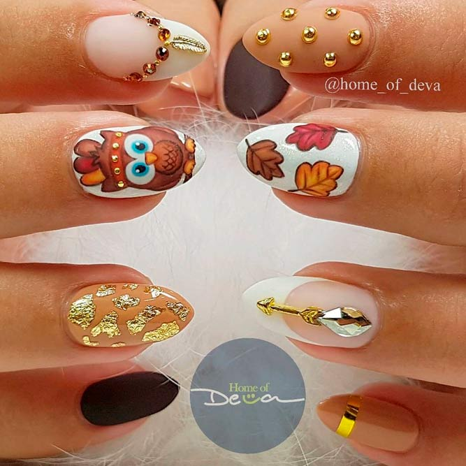 Bright And Creative Thanksgiving Nails #rhinestonesnails #handpaintednails