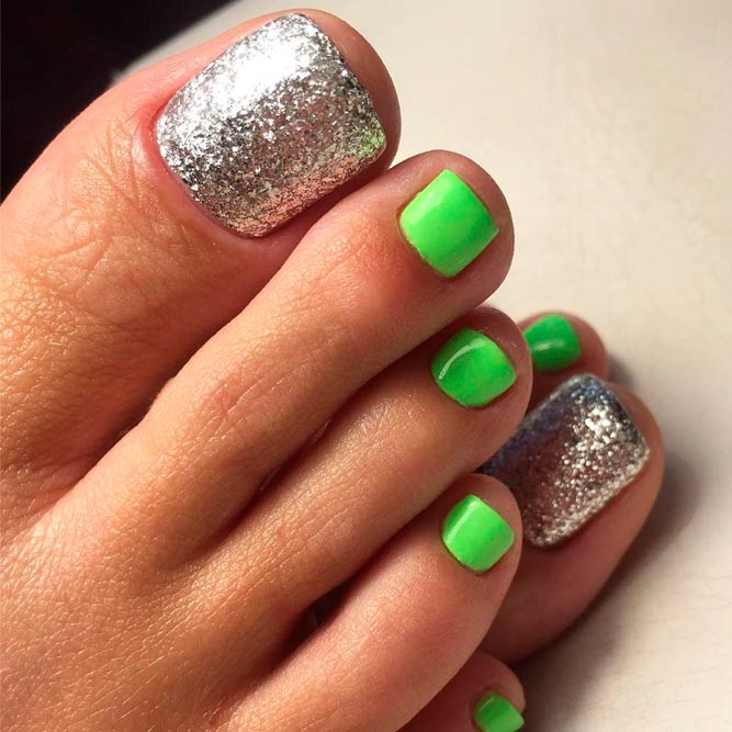 Bright Green With Silver Glitter Nails #glitternails #greennails