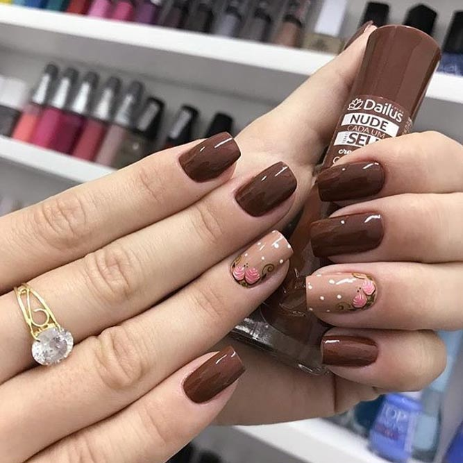 Amazing Brown Fall Color Nails To Look Cute And Elegant #squarenails #brownnails #flowernails #polkadotnails