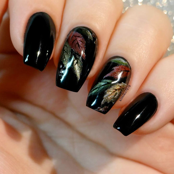 Hand Painted Nail Art Designs: 21 Gorgeous Fall Color Nails Designs