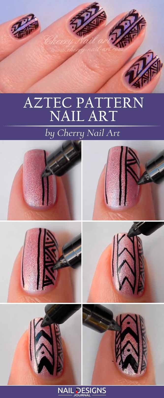 DIY Nails Amazing Tribal Pattern on Holo Base