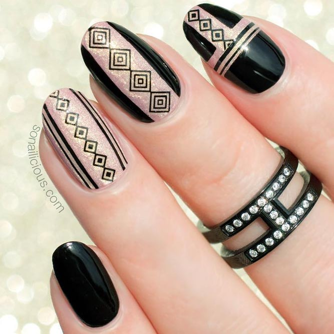 Black and Rose Gold Tribal Art