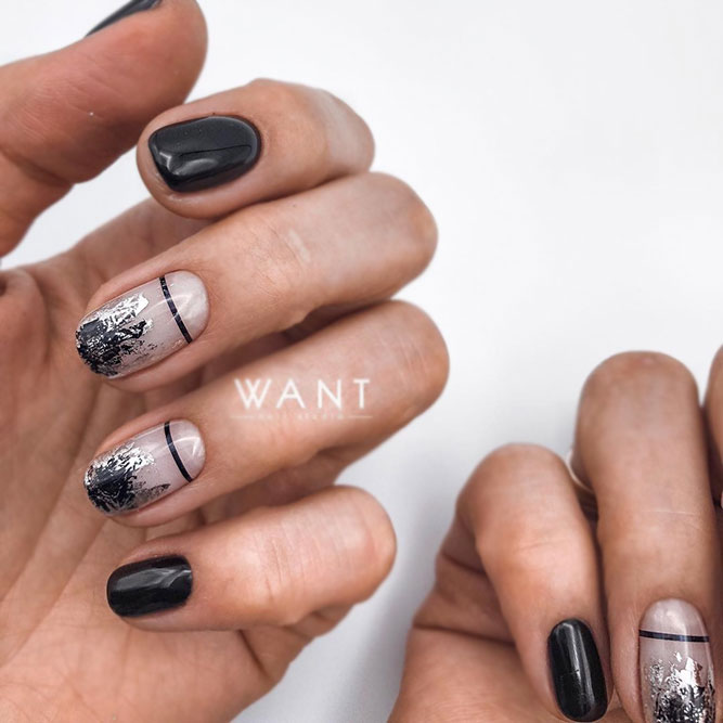 Minimalistic Black Nails Art