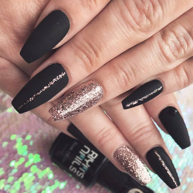 Black Coffin Nails with Golden Glitter picture 3