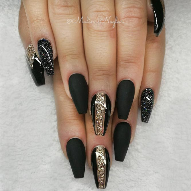 Black Coffin Nails with Golden Glitter picture 2