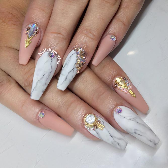 Marble Coffin Nail Designs picture 1