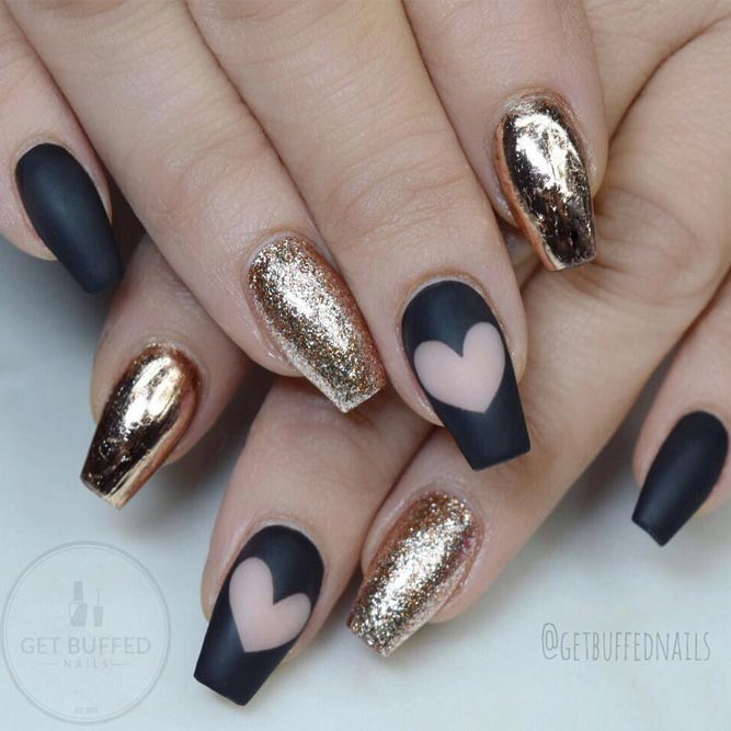 Black Coffin Nails with Golden Glitter picture 1