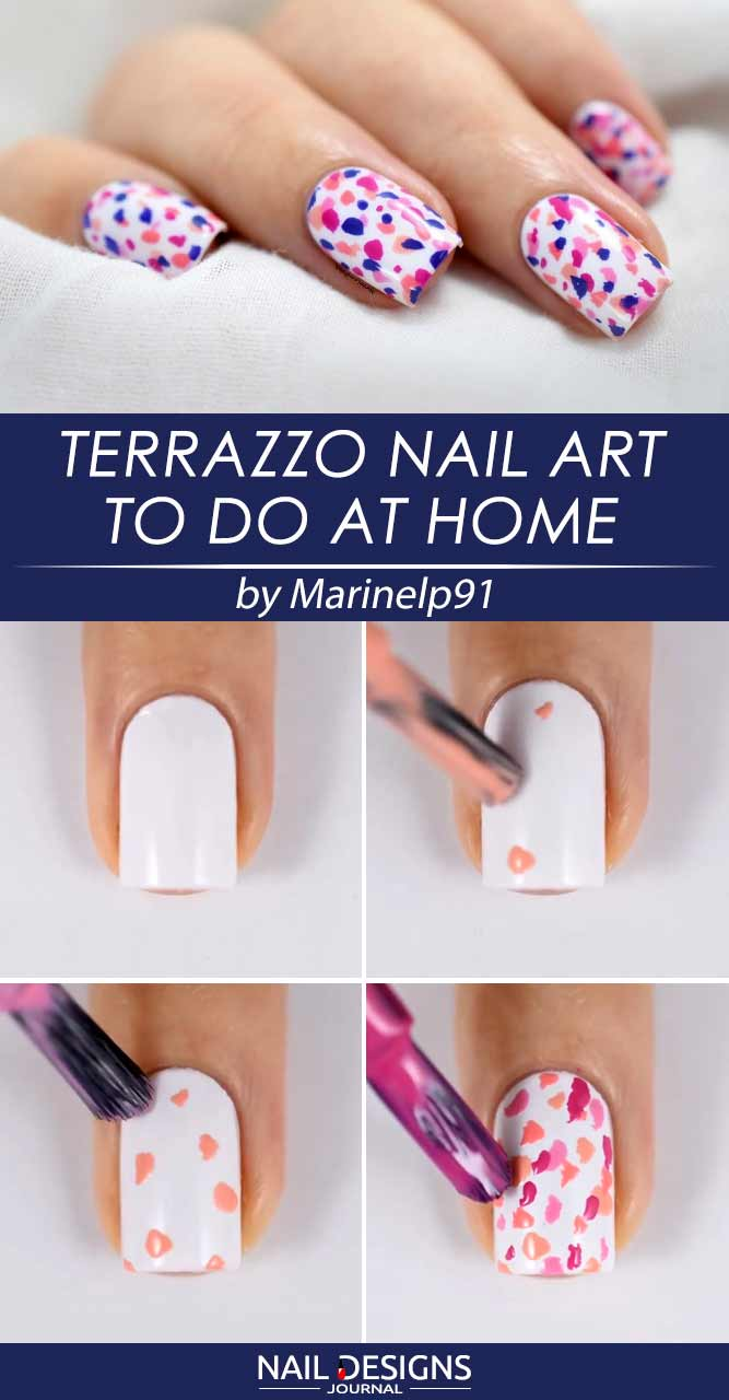 How To Do Nail Designs Step By Step Easy Terrazzo Art