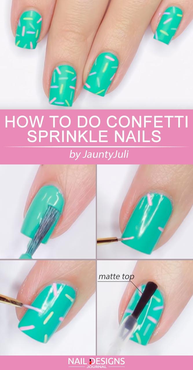 Cute Confetti Sprinkle Nails #confettinails #mattenails