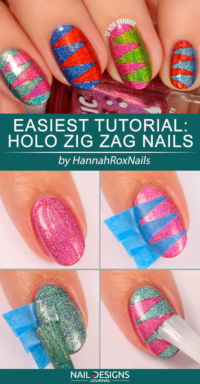 Easiest Tutorial Holo Zig Zag Nails #holographicnails #ovalnails #zigzagnails