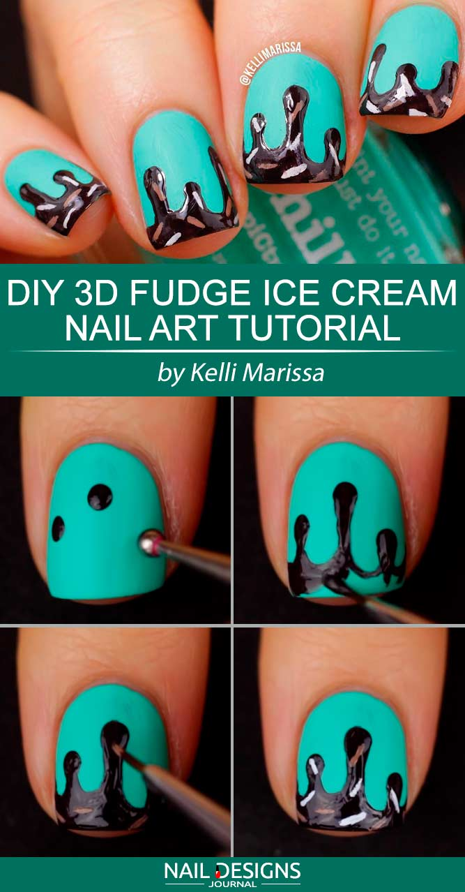 DIY 3D Fudge Ice Cream Nail Art Tutorial #icecreamnails #mintnails #chocolatenails #squarenails