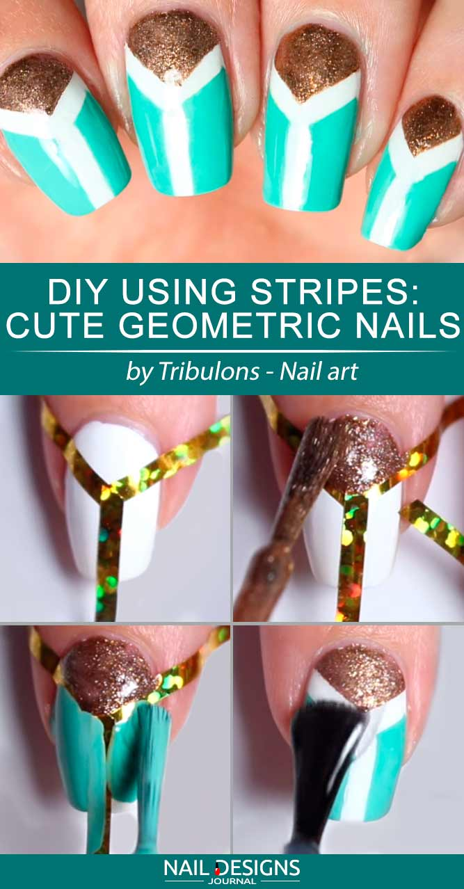 DIY Using Stripes Cute Geometric Nails #squoval #longnails #geometricnails