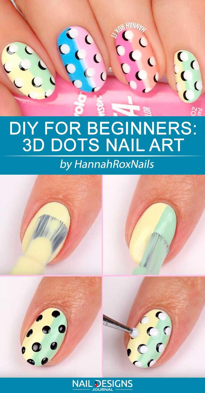 DIY For Beginners 3D Dots Nail Art #dotsnails #pastelnails