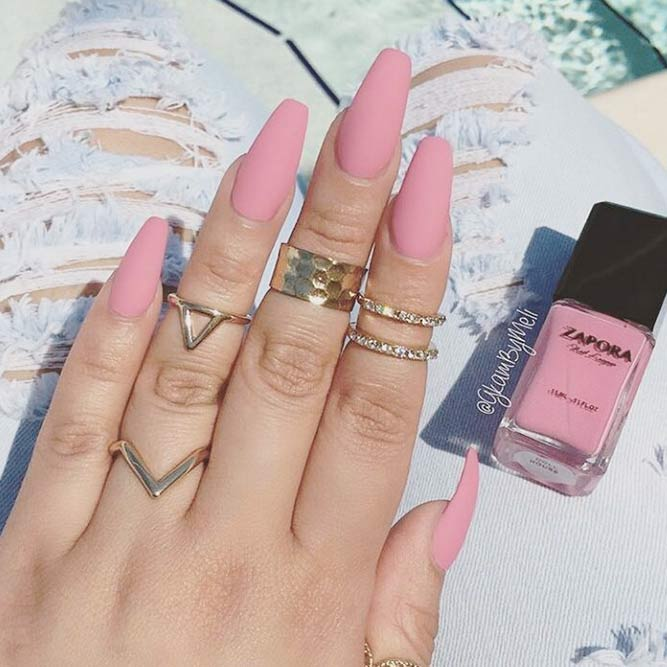 Trendy Simple Matte Pink Nails picture 2