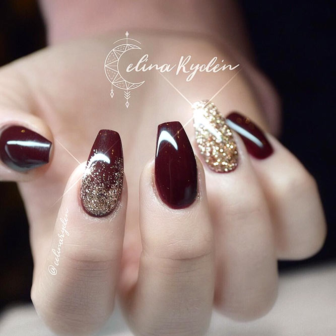 Nail Colors Burgundy: 35 Outstanding Short Coffin Nails Design Ideas