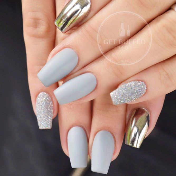 Grey And Chrome Pigment Nails